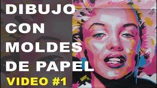 Marilyn Monroe pintura pop art con moldes de papel.
