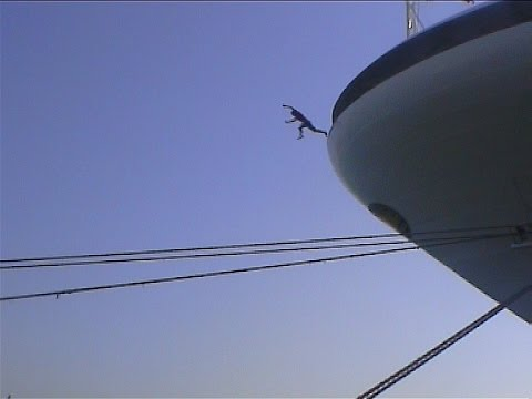 Crazy man jumps off cruise ship