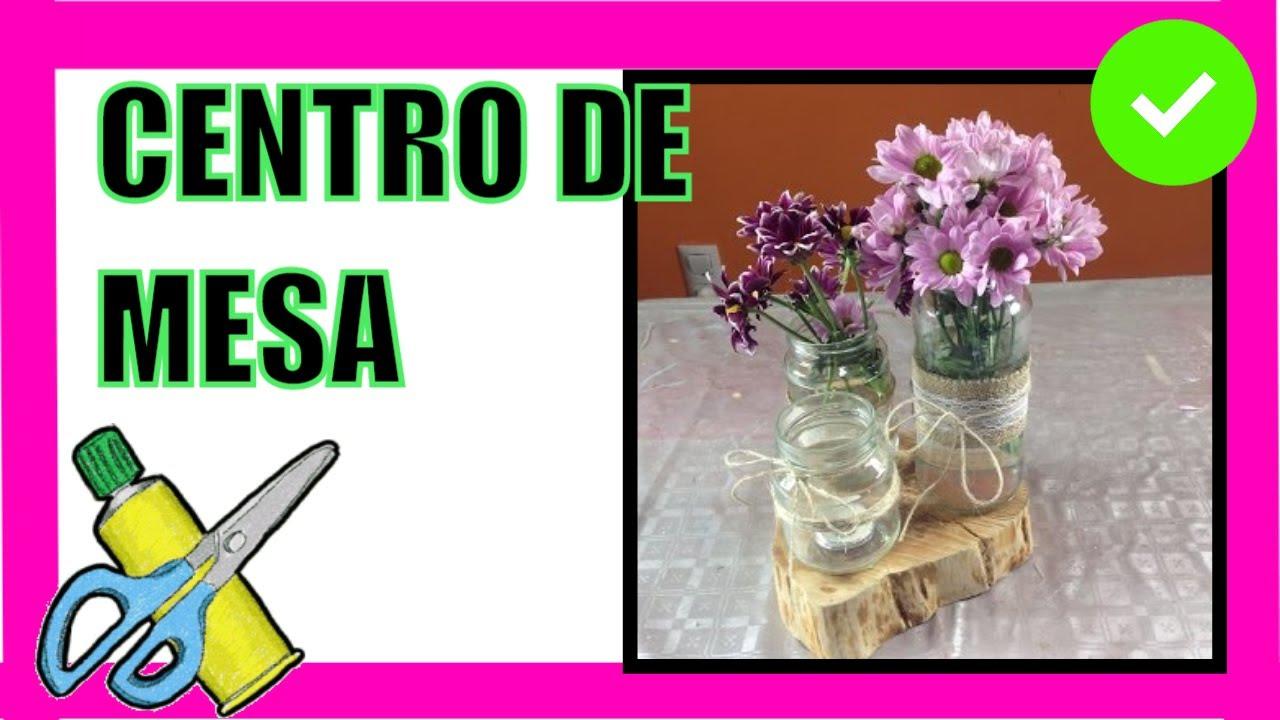 Centro de mesa con frascos y madera centerpiece with for Centros de mesa de madera