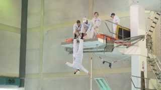 Diving stunt show at Plymouth's Mayflower Centre swimming pool, Devon