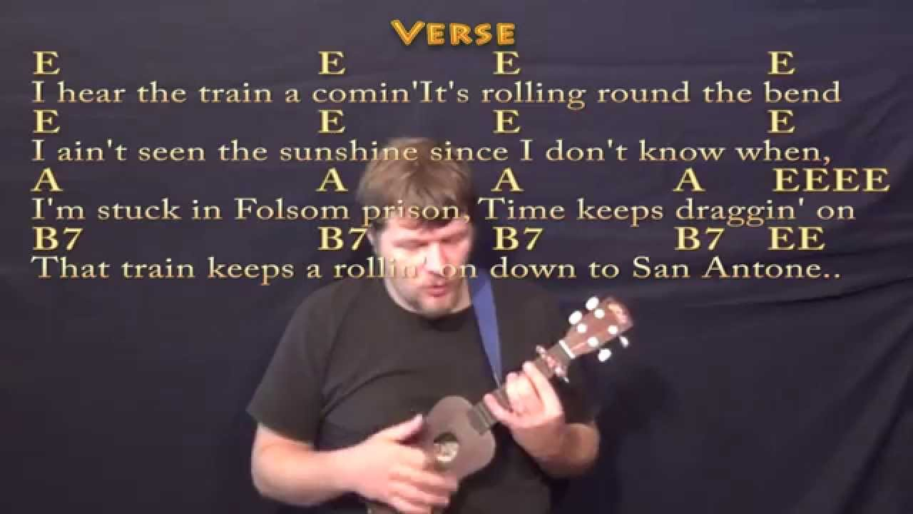 Folsom Prison Blues Ukulele Cover Lesson With Lyricschords Youtube