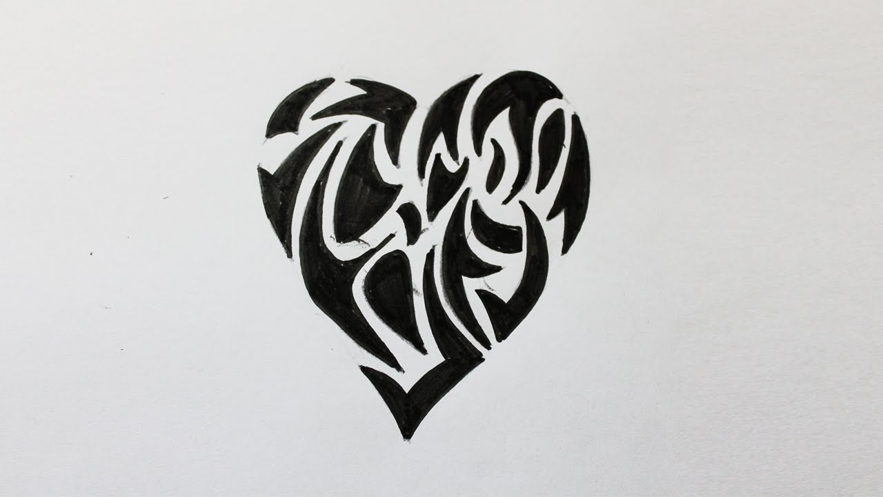 Comment Dessiner Un Coeur Tribal Youtube