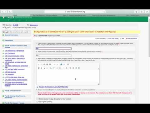 Video of IRB applicaiton on IRBIS