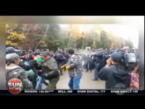 Sun News   40 natives arrested in violent anti fracking protest in New Brunswick