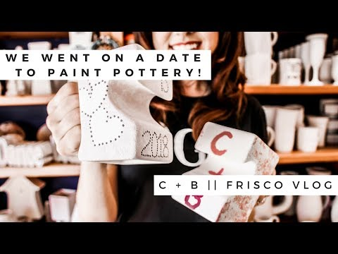 WE PAINTED POTTERY AT COLOR ME MINE! || FRISCO VLOG