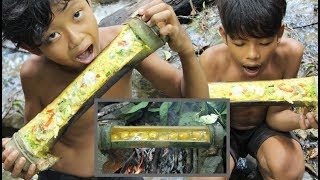 Primitive Technology - Awesome cooking chicken egg in bamboo - eating delicious