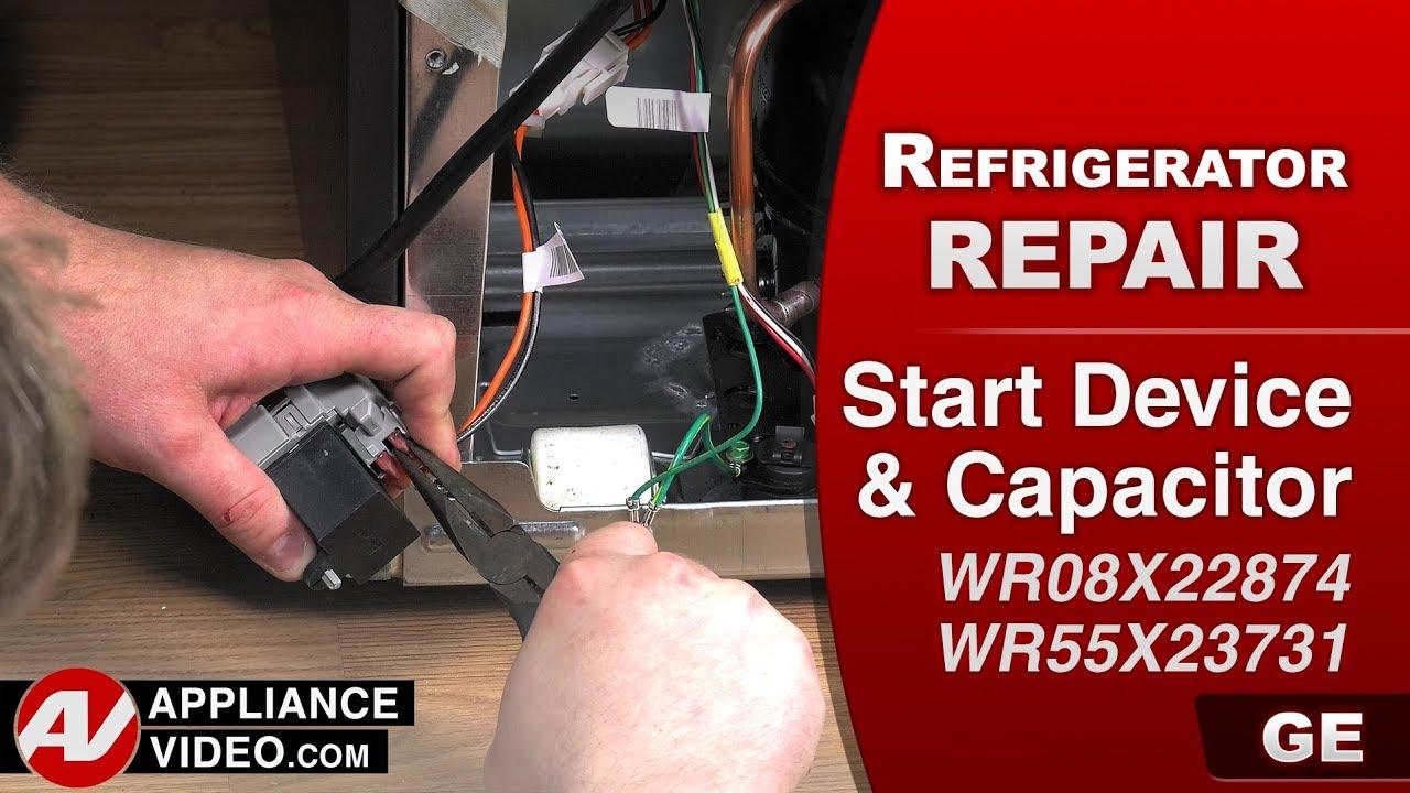 GE, General Electric Refrigerator –Diagnostic & Repair- Start Device on general purpose relay wiring, capacitor compressor wiring, capacitor fan wiring, capacitor screw wiring, dc relay wiring,