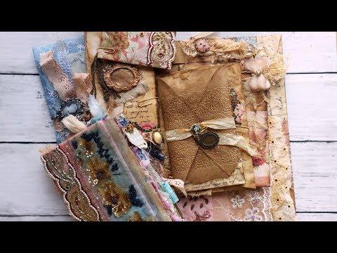 """""""Dear Marie"""" Romantic Vintage Junk Journal Collection  Envelope Art"""