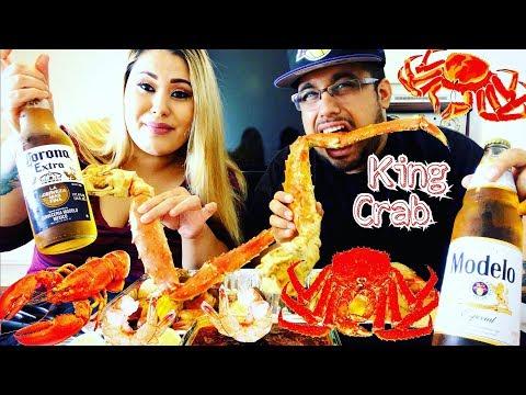 Seafood Boil Mukbang: King Crab, Lobster Tail, Tiger Shrimp  Red King Crab  Eating  먹방
