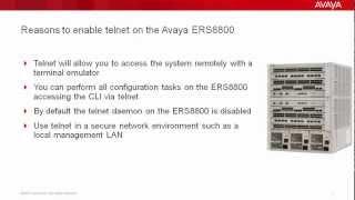 How to Enable Telnet on the Avaya ERS8800