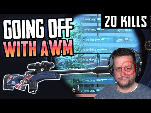 GOING OFF WITH THE AWM! FIRST 20-KILL Solo vs Squad on ZOMBIES - PUBG Mobile