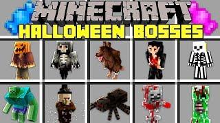 Minecraft HALLOWEEN BOSSES MOD l BATTLE GRANNY, BALDI, DRACULA, GRIM REAPER! l Modded Mini-Game
