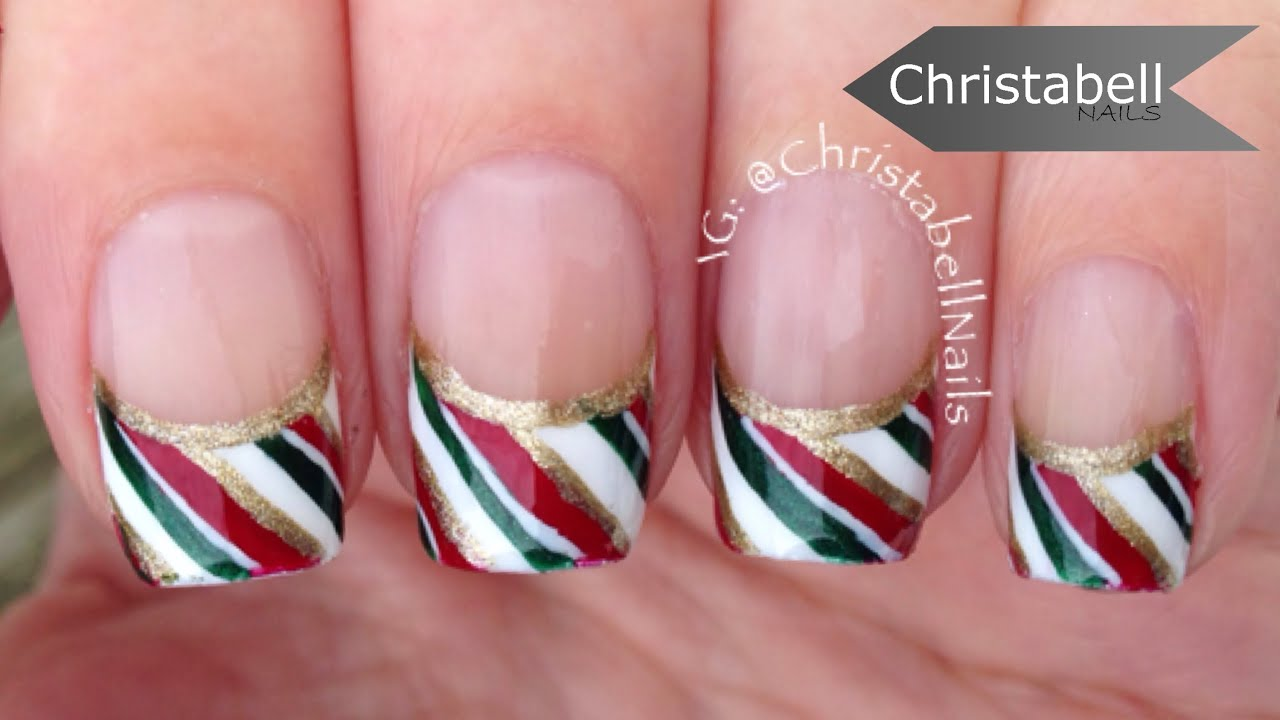 Attractive Christmas French Tip Nail Designs Image Adornment - Nail ...