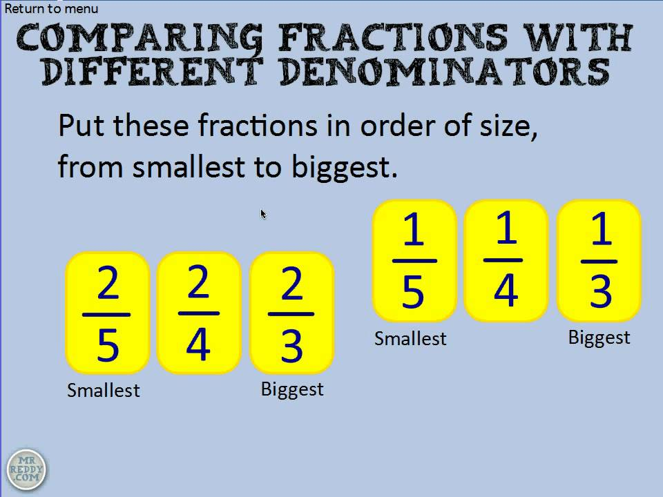 comparing fractions with different denominators  youtube comparing fractions with different denominators