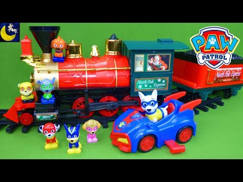 Paw Patrol Funny Toys Stories for Kids Christmas Train Missing Super Hero Pups Apollo Saves the Day!