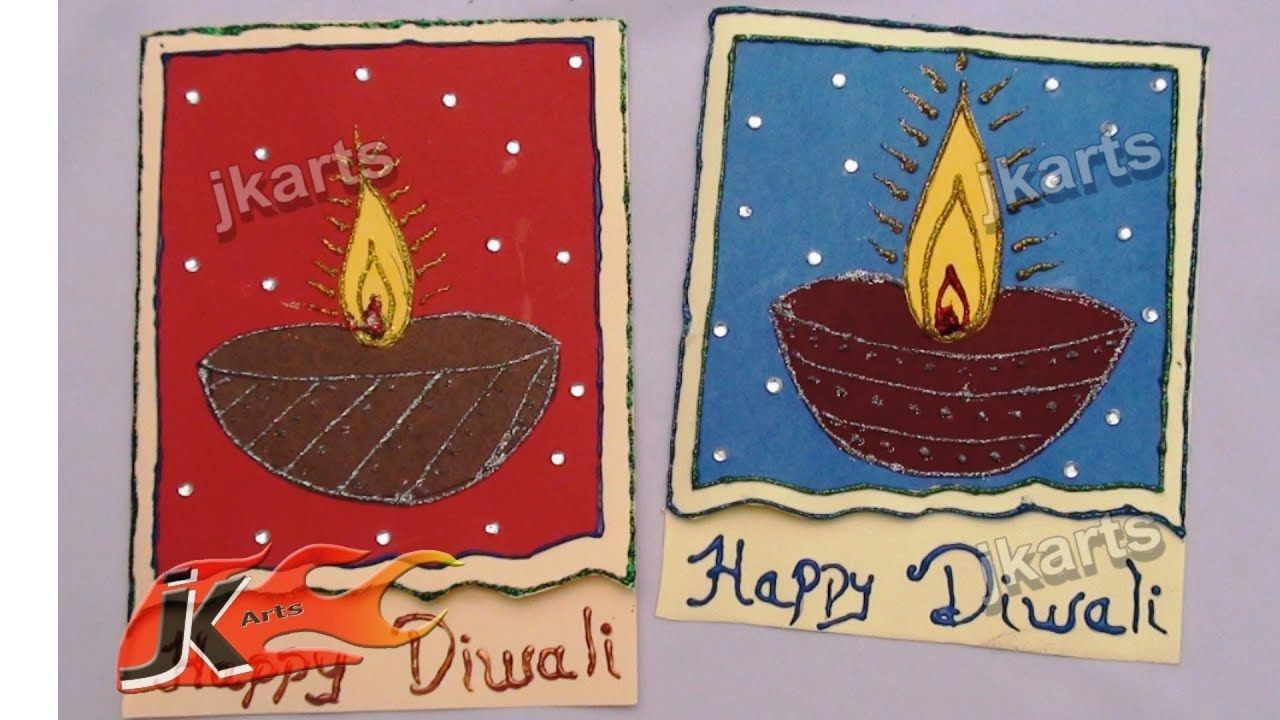 Attractive Diwali Greeting Card Making Ideas Part - 2: DIY Diwali Greeting Card | How To Make | School Project For Kids | JK Arts  075 - YouTube