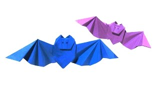 Halloween Origami Bat (first version) - Easy Origami Tutorial - How to make an easy origami bat