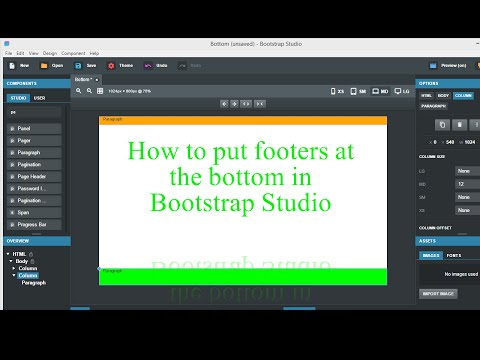 Footers at the bottom in Bootstrap Studio