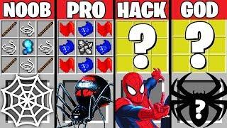Minecraft Battle: SPIDERMAN CRAFTING CHALLENGE ~ NOOB vs PRO vs HACKER vs GOD – Superhero Animation