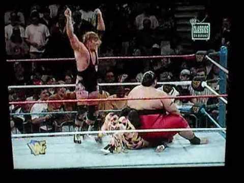 Jeff Hardy gets Banzai Dropped by Yokozuna!