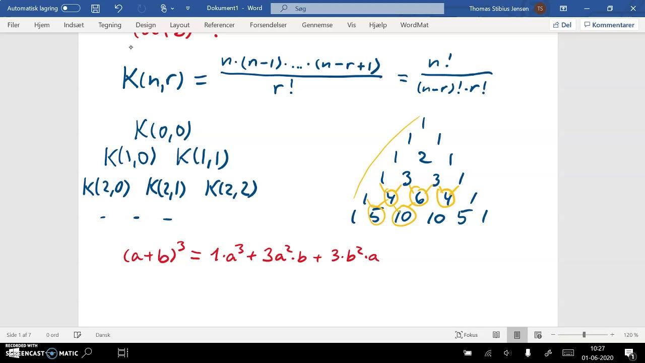 spg11 del2a binomialkoefficient