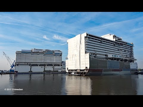 NORWEGIAN BLISS | first look & float out 2nd mega block at shipyard MEYER WERFT | 4K-Quality-Video