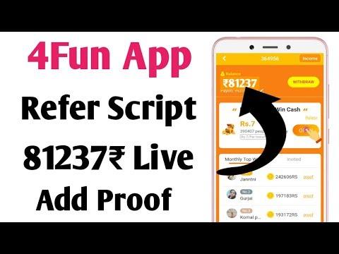 4Fun App Refer Script | 4Fun Live 81237₹ Add Proof ! 4Fun Unlimited Trick