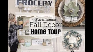 FALL DECOR HOME TOUR 2018 | FARMHOUSE INSPIRED | DIY WREATH AND PUMPKINS