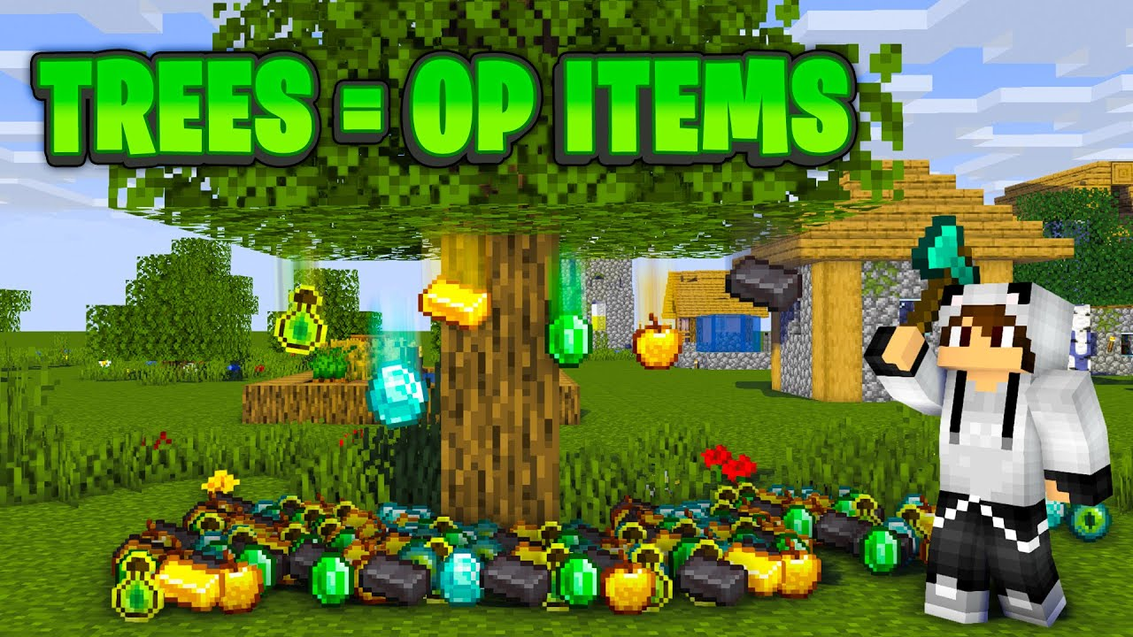 Download Beating Minecraft BUT Trees Drop OP ITEMS (Trees Grow OP ITEMS)