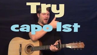 Try (Colbie Caillat) Easy Guitar Lesson How to Play Tutorial Strum Fingerstyle