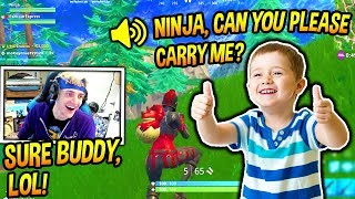NINJA PLAYS FORTNITE WITH A CUTE LITTLE KID! *ADORABLE* Fortnite FUNNY & SAVAGE Moments