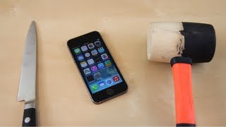Apple iPhone 5s Hammer Crush & Knife Scratch Test(iPhone 5s Hammer Crush & Knife Scratch Test Subscribe for more iPhone 5S & iPhone 5C Destruction: http://smrt.so/UOhfly This is a video testing the durability ..., 2013-09-20T17:05:14.000Z)
