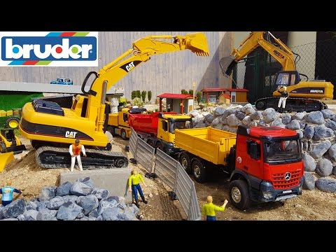 BRUDER TOYS TRUCKS construction site / sand transport video for kids!