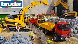 BRUDER TOYS TRUCKS construction site / sand transport video for kids!