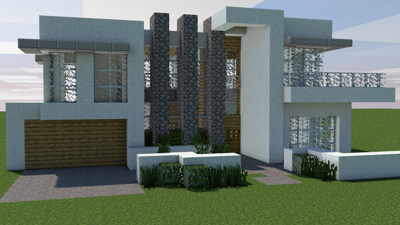 Minecraft como construir 1 casa moderna youtube for Casas modernas para minecraft