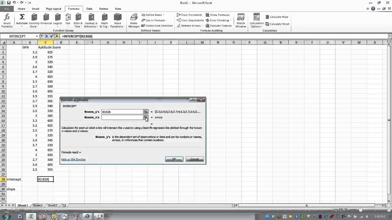 slope intercept form in excel  How to Use Excel- The INTERCEPT & SLOPE Function