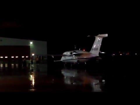 Late Rainy Night Piaggio P-180 Avanti Taxi-In and Shutdown