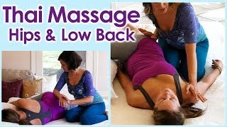 HD Thai Massage Techniques for Low Back Pain, Hips, Sciatica, Spa Therapy Relaxing ASMR