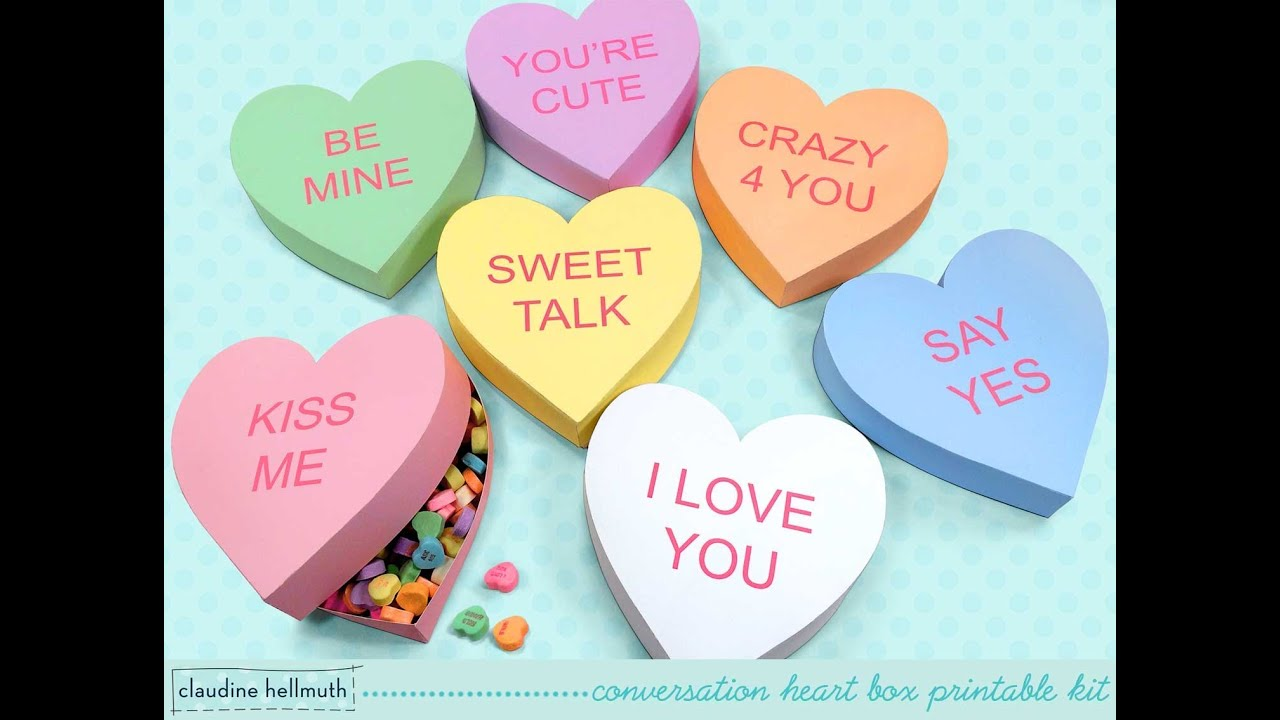 Make A Conversation Heart Candy And Favor Box Valentines