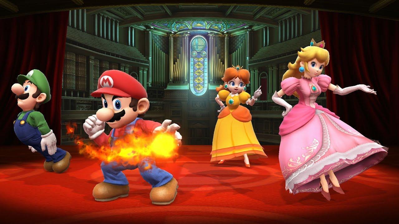 SSBWU - Mario and Luigi vs Peach and Daisy - YouTube
