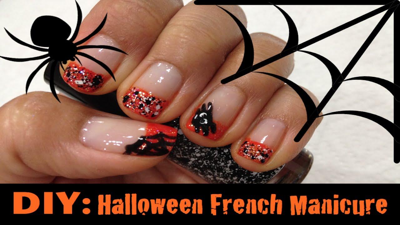 diy halloween french manicure using sponge youtube. Black Bedroom Furniture Sets. Home Design Ideas