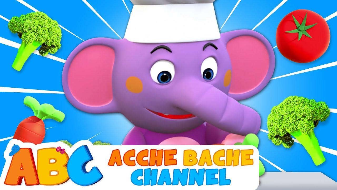 I Love Vegetables   Mujhe pasand hai sabziyan   Acche Bache Channel   Nursery Rhymes Songs in Hindi