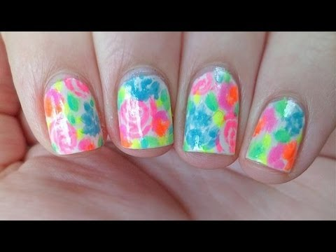 Floral Neon Watercolor Nails #2: hqdefault