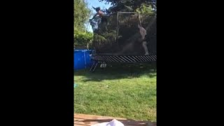 Jumping Off Trampoline Into A Pool Flop