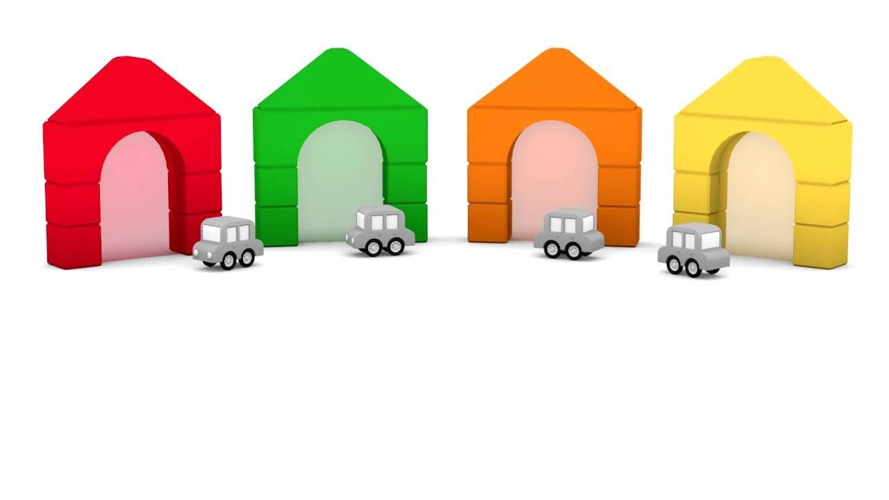 Çizgi Film Animasyon Dizi - Dört küçük araba top oynuyor. Köprüden geç mavi ol
