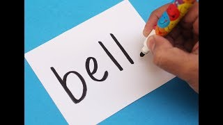How to turn word BELL into a Cartoon Christmas Bell ! Learn drawing art on paper for kids
