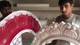 How to Gypsum Plaster Ceiling Medallion Making By Fiber Mold, Rose Making By Plaster Powder Mixture