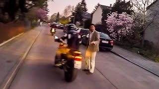 ANGRY MAN ATTACKS BIKER