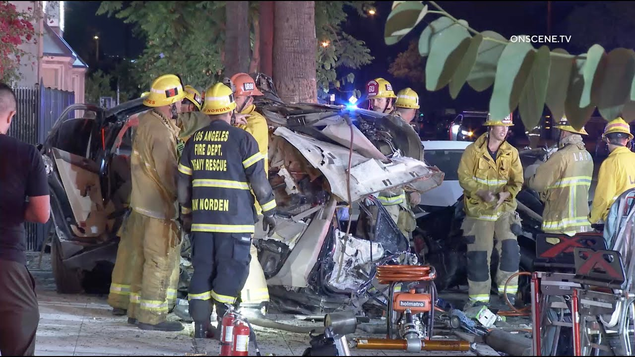 Download Car Demolished In Horrific Double Fatal Crash | North Hollywood