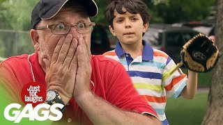 Man Mistakes Dog for Baseball! - Just For Laughs Gags
